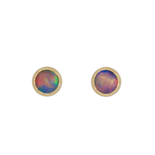Signature 5mm Round Earrings - 18k Gold Crystal Opal