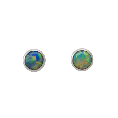 Lost Sea Opals Signature 5mm Round Earrings - 18k White Gold Crystal Opal