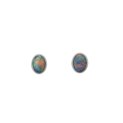 Lost Sea Opals Signature 5mm Oval Earrings - 9k White Gold Light Opal