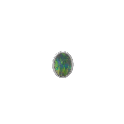 Lost Sea Opals Signature 5mm Oval Earring - 9k White Gold Black Opal
