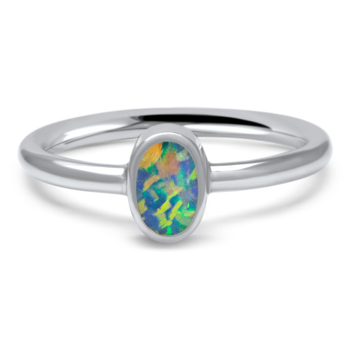Lost Sea Opals Signature 7mm Oval Ring - 18k White Gold Black Opal