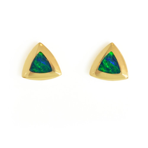 Lost Sea Opal - Gold Triangular Stud earrings with Opal Inlay