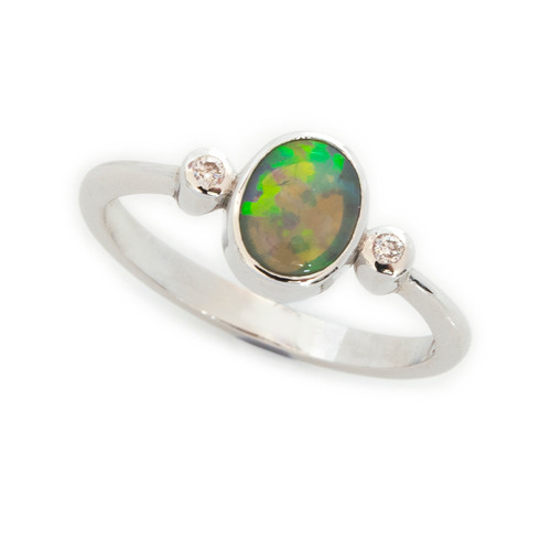Lost Sea Opal- White Gold - Crystal opal ring