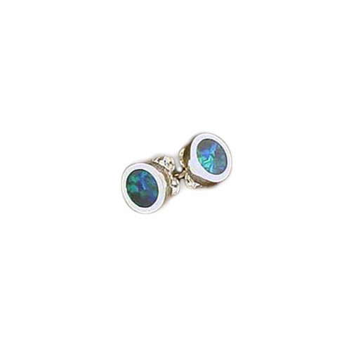 Lost Sea Opals- round opal inlay earrings
