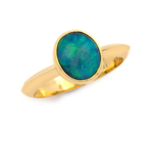 Lost Sea Opals - 9ct Gold and black opal ring.