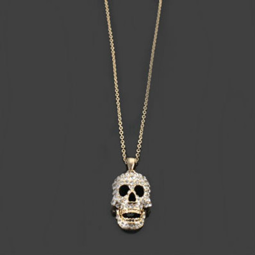 """Gold Tone, """"Studded Skull"""" Necklace"""