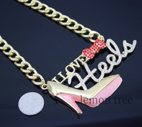 """Iced Out Chain Necklace """"I Love Heels"""""""