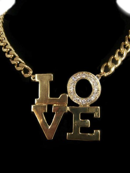 "Gold Tone, ""Love"" Chain Necklace"