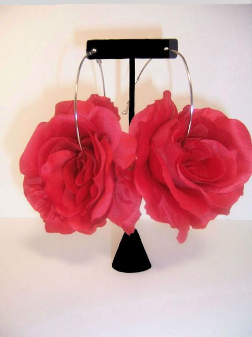 Big Red Rose Hoop Earrings