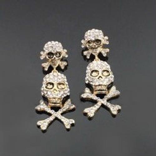 Skull Rhinestone Fashion Earrings