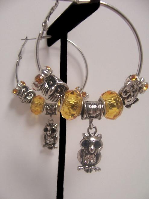 Owl Hoop Earrings