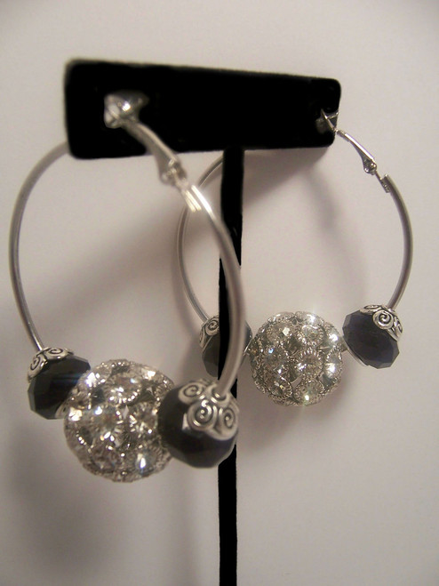 Silver Rhinestones/Blk Hoop Earrings