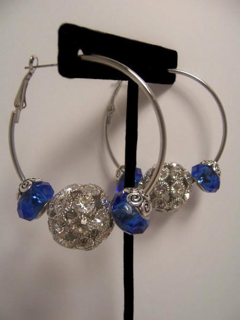 Sale! Silver Rhinestones/Blue Hoop Earrings
