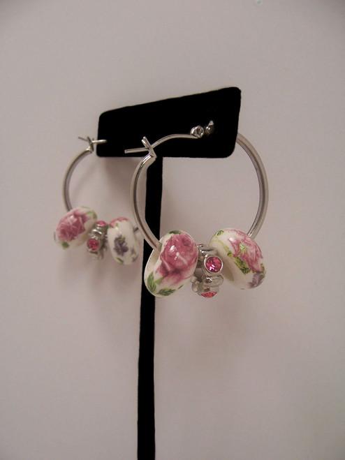 Sale! Small Floral Hoop Earrings