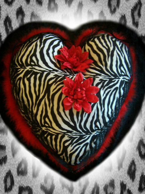 Big Decrative Zebra Heart Pillow