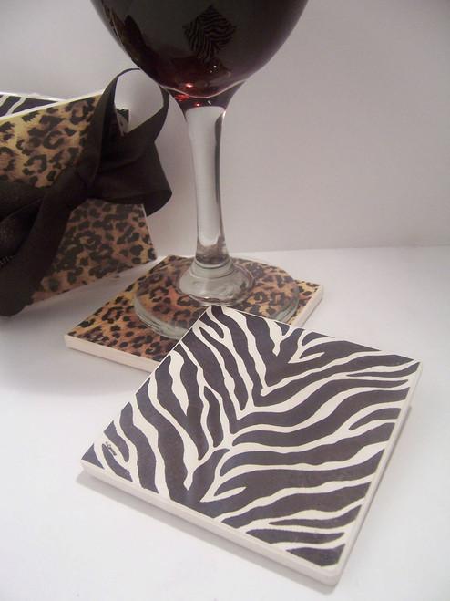 4- Piece Leopard/Zebra , Beverage Coaster Set