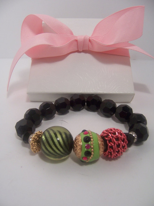 Lime Pink Stretch Bracelet