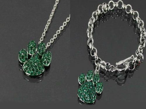 Green Paw Print Necklace & Bracelet Set