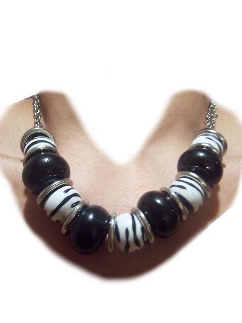 Zebra Print Fashion Necklace