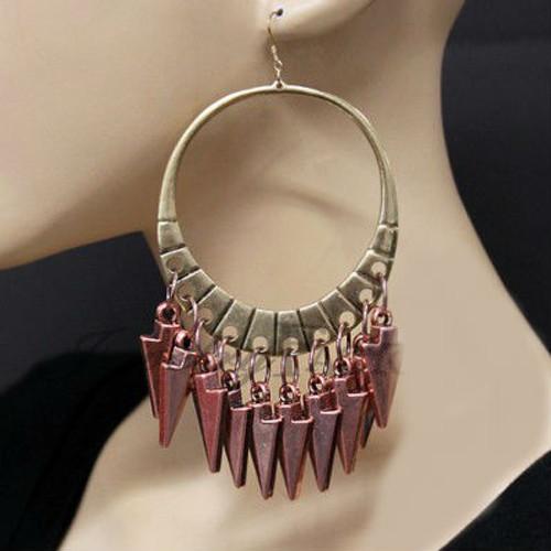 Rose Arrow Charm Hoop Earrings