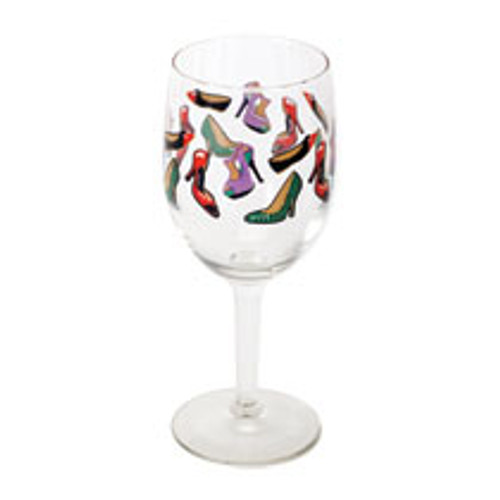 """High heel 2-piece wine glasses.  Sexy 2-piece wine glass set.  Both wine glasses are 10 oz. each.  Images of high heels, pumps, and flats are all over these wine glasses.  Each glass stands 7"""" tall.  Each glass is covered in a variety of shoes. Covered in all types of shoes: Sexy stilettos, work day, or just relaxing. This glass has you covered for any mood."""