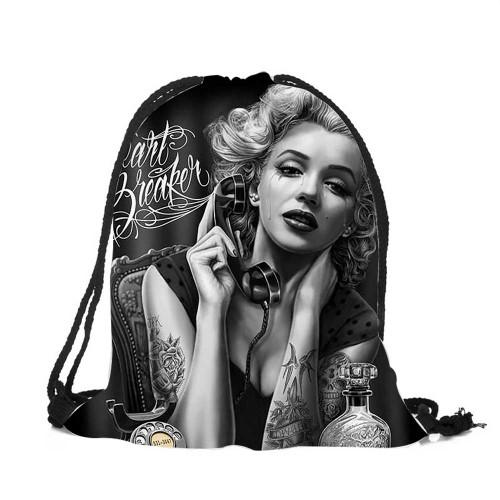 Marilyn Monroe Tattoo Drawstring Backpack/Holding Phone