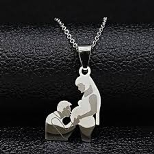 Mother Daughter Necklace /Expecting/ Silver Color