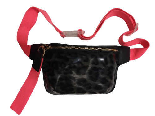 Transparent Leopard Print Belt Bag / Fanny Pack/ Orange Strap