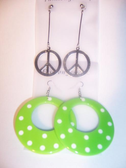 Green Polka Dot/Peace, Earring Set