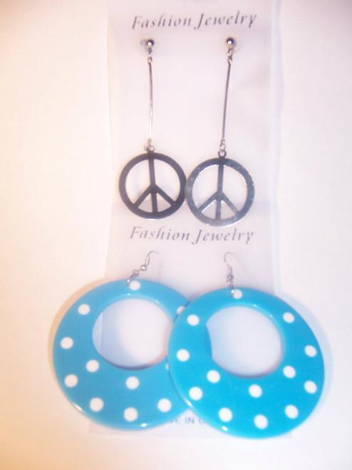 Blue Polka Dot/Peace, Earring Set