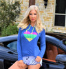I Heart PWC Hooded Longsleeve Tee | Blue | Ladies Jet Ski Riding Apparel
