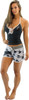 Ladies Cross Hatch Shorts - White / Grey PWC Jetski Ride Apparel
