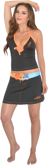 Mission Bay Swim Skirt - Blue/ Orange PWC Jetski Swimwear