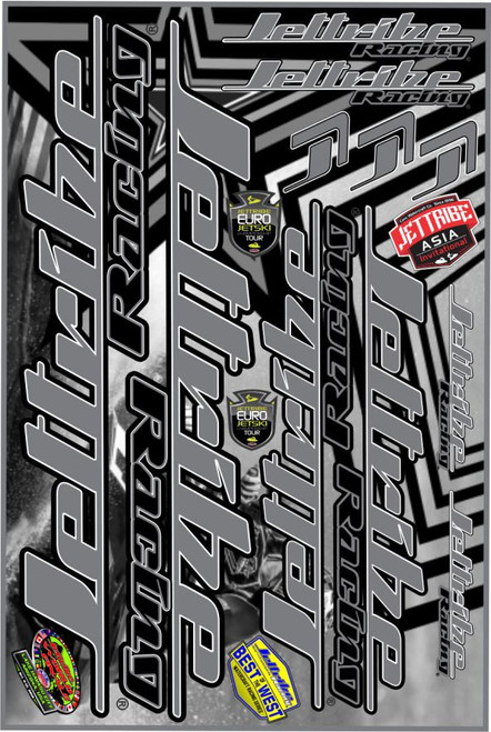 Decals - 12 X 18 - Sticker Sheet Gray PWC Jetski Ride & Race Accessories