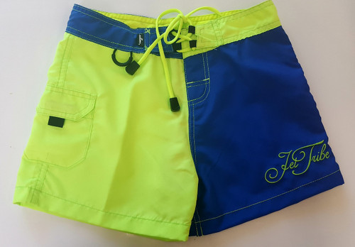 Little Girls Two Tone Shorts - Blue/Green PWC Jetski (Closeout)