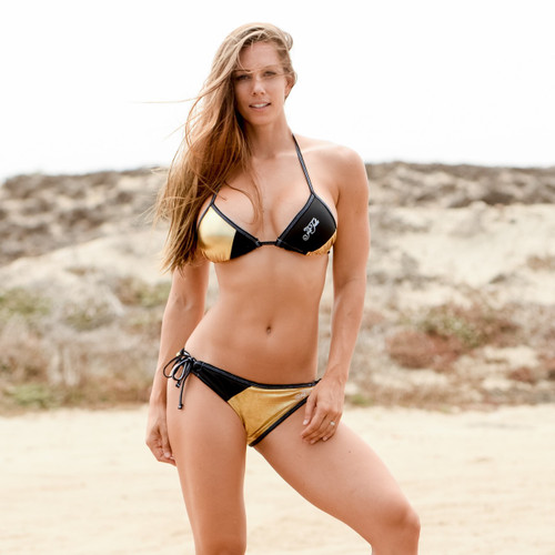 Metallic Gold Triangle Bikini 2pc Set - PWC Jetski Swimwear