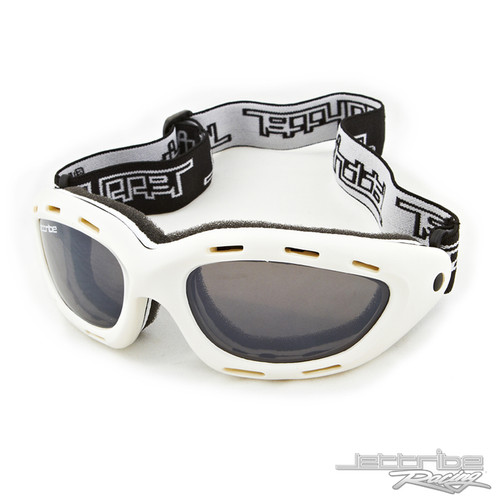 Classic Youth White Frame/Smoke Lens Goggles PWC Jetski Race - Small Adult