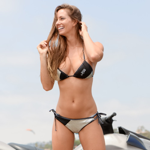 Metallic Silver Triangle Bikini 2pc Set - PWC Jetski Swimwear