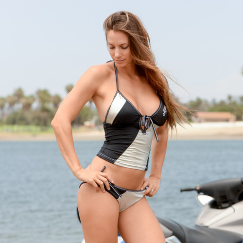 Metallic Silver Tankini Top - PWC Jetski Ride & Race Swimwear