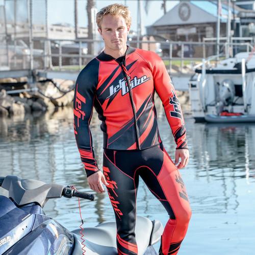 Sharpened Red Wetsuit | 2 Piece Set | John & Jacket | PWC Jet Ski Ride & Race