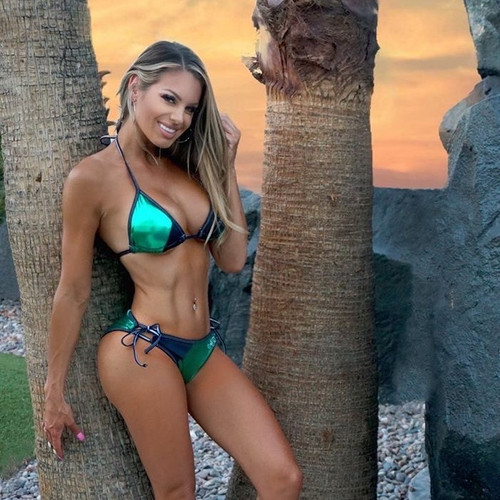 Metallic Green Triangle Bikini 2pc Set - PWC Jetski Swimwear