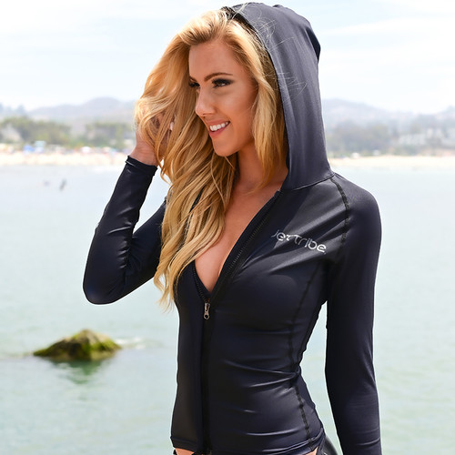 Ladies Cut Hoodie Rashguard Black - PWC Jetski Ride & Race Apparel
