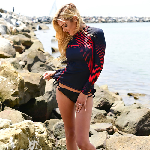 Ladies Cut Hyper Rashguard Red | PWC Jetski Ride & Race Apparel
