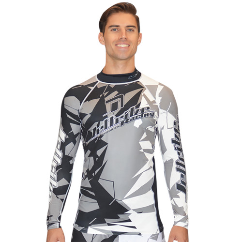 Longsleeve Shattered Rashguard - Grey PWC Jetski Ride & Race Apparel