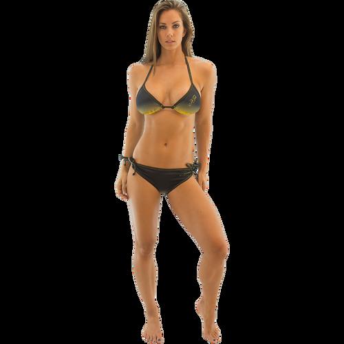 Ombre Bikini Tie Bottom  - Yellow PWC Jetski Ride & Race Swimwear