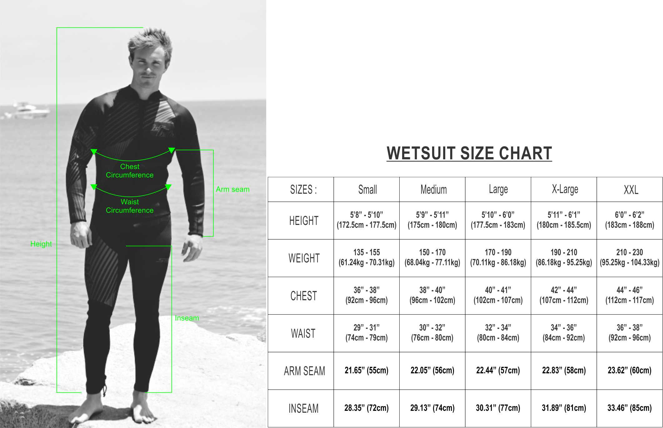 Wetsuit Size Chart