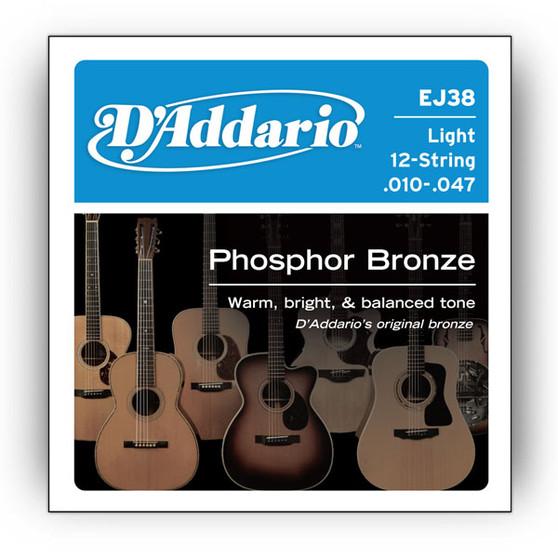 D'Addario 12-String Phosphor Bronze Acoustic Guitar Strings