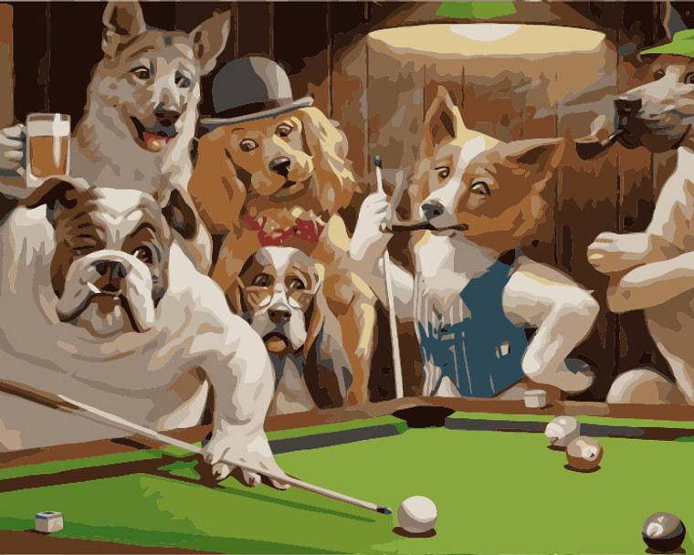 Dogs Playing Pool by Cassius M Coolidge