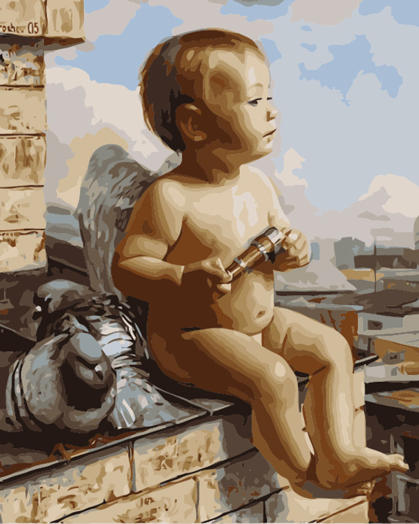 Baby Angel and Pigeons