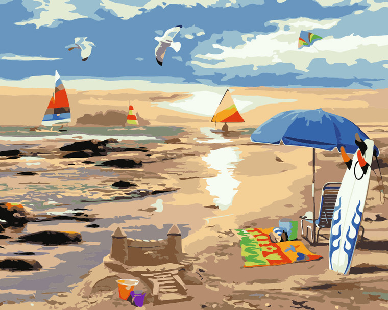 Beach and Sand Castle